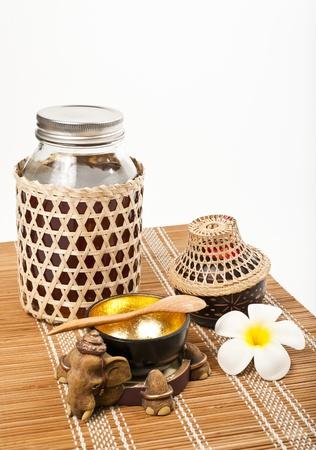 Thai style set of honey isolated on white background Stock Photo