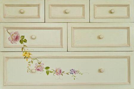 Modern painting flower on drawer