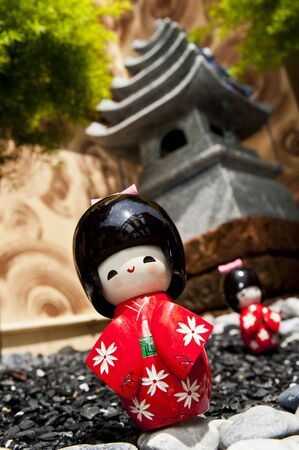 Zoom in Japanese doll isolated on Japanese house style Stock Photo