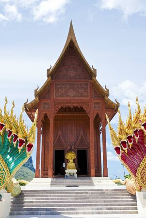 Front of New Modern real teak temple photo