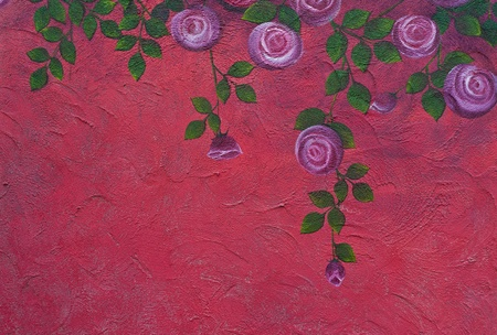Rose painting on the wall Stock Photo