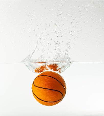 basketball under water with splash isolated on white background