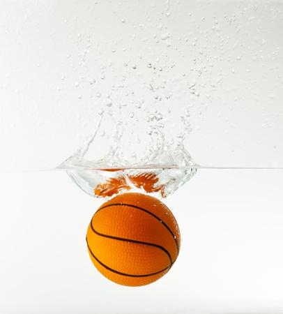 basketball under water with splash isolated on white background