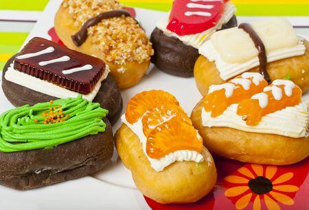 Zoom in fake Sushi donut in plate Stock Photo