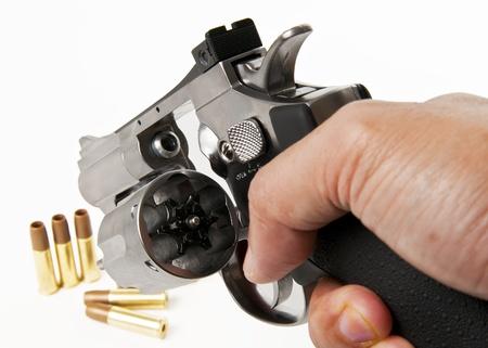 empty socket of revolver isolated on white background Stock Photo