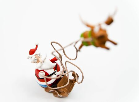 Zoom in Santa clause in sleigh Stock Photo - 12007268