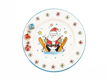Santa Claus painting on plate Stock Photo - 12007261