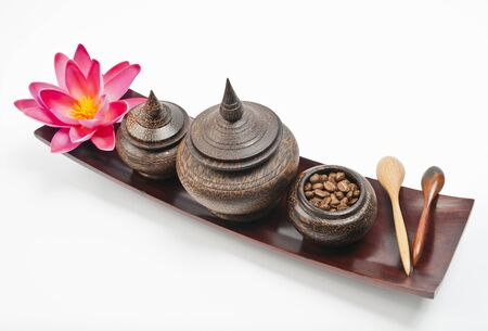 Thai wooden bowl set in wooden long tray photo