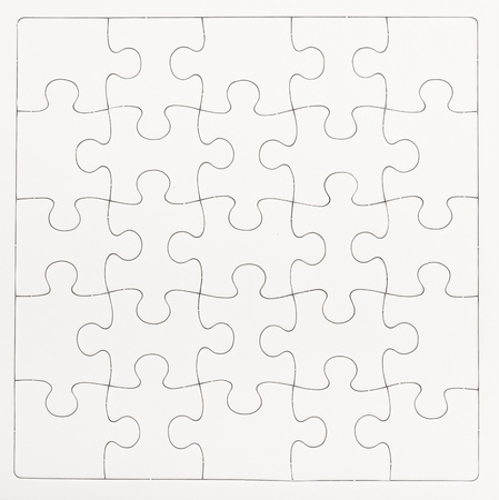 White blank jigsaw isolated on white background Stock Photo