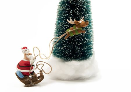 Santa on sleigh with one Reindeer Stock Photo - 16689321