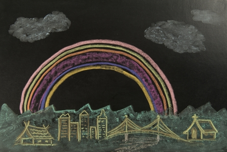 Color drawing rainbow over the city on the black background Stock Photo - 19835409