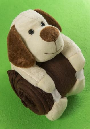 Perro mu�eca abrazo manta marr�n en el fondo verde Foto de archivo