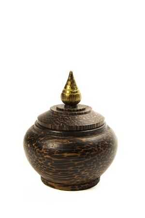 Beautiful Thai traditional wooden pot handicraft isolated on white background Stock Photo - 19835416