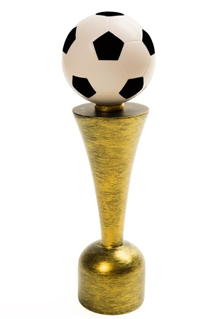 Soccer trophy isolated on white background Stock Photo