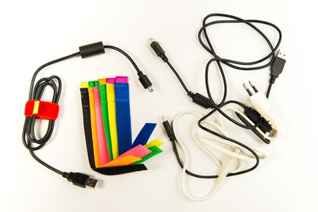 Colorful marker straps with wire and cables