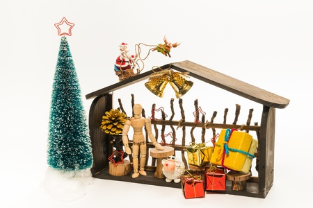 Wooden Christmas shop with Santa and raindeer isolated on white background Stock Photo