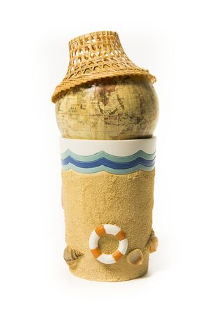 Global world map with Thai style hat on beach cup Stock Photo - 21493057