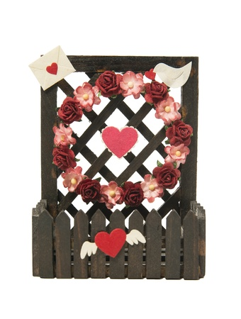 Fence of flower and heart symbol isolated on white background Stock Photo - 21493061