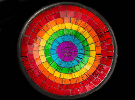 Colorful ceramic glass plate isolated on black background Stock Photo - 22012975