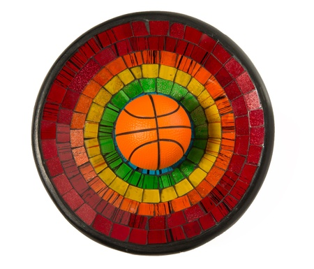 Basketball in Colorful Ceramic glass plate isolated on white background Stock Photo - 22012978