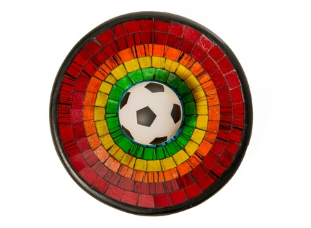 Soccer ball in Colorful Ceramic glass plate isolated on white background Stock Photo - 22012979