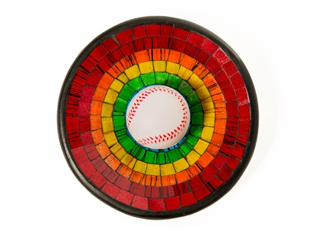 Baseball in Colorful Ceramic glass plate isolated on white background Stock Photo - 22012983