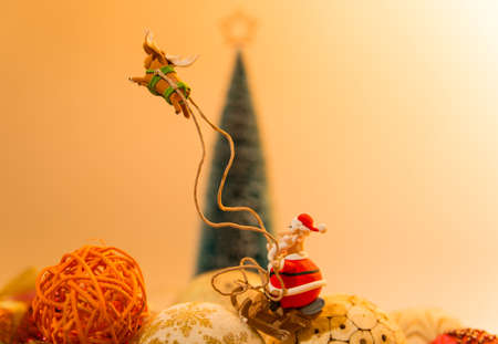 Santa on sleigh with one reindeer with Christmas tree background Stock Photo - 22012999