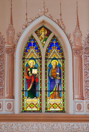 catholic stained glass: Catholic stained glass window Stock Photo
