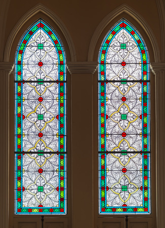 discolorations: Stained Glass in the oldest Catholic church of Thailand Stock Photo