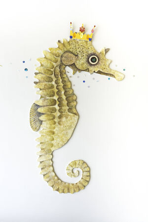Artificial seahorse decorated on the white wall Stock Photo