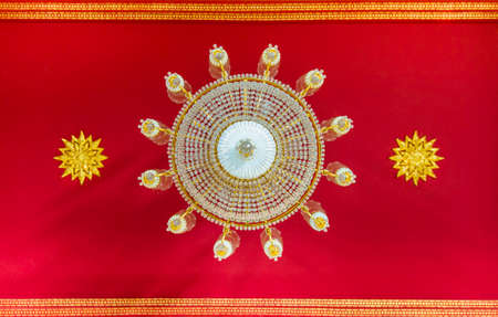 Clear Crystal Lantern on temple ceiling