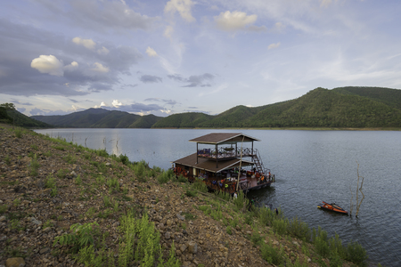 jet ski: raft house with jet ski in the lake Stock Photo