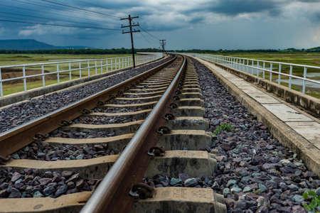 Long railway wtihout train Stock Photo