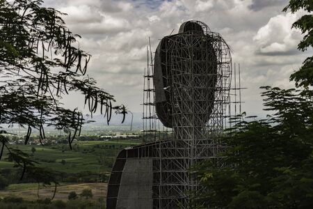Structure of Buddha head statue