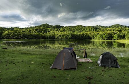 Camping near small lake in National park