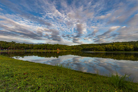 Cloudy sky over small lake in the forest