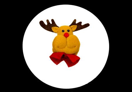 Reindeer face on white circle