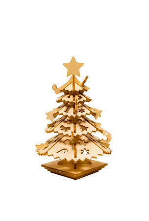 Wooden Christmas tree isolated from white background Stock Photo