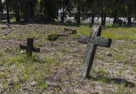 Two old crosses in graveyard