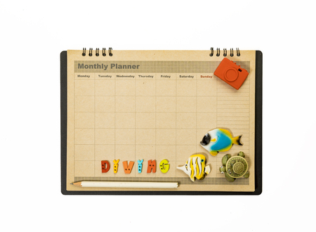 Diving planner schedule decorate with fish,turtle and camera