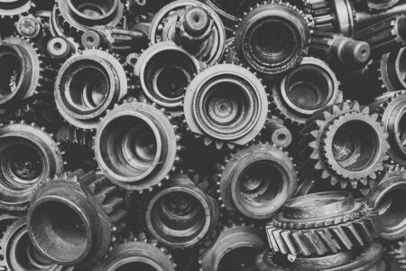 Gear background in soft black and white