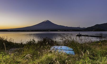 Blue boat on the bank near Lake Kawaguchi