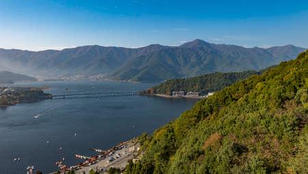 Top view of lake kawaguchi from Mountain Stock Photo