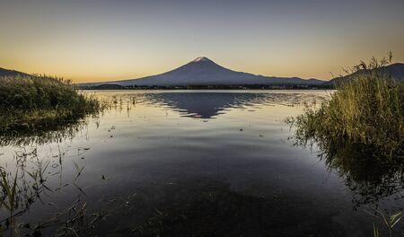 Shadow of Fuji Mountain in Lake Kawaguchi Stock Photo