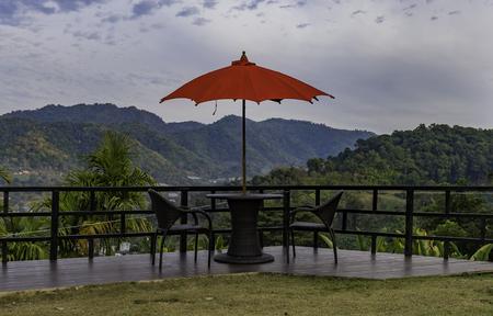 Rest area with red umbrella