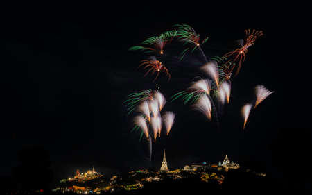 Fireworks celebration in Thai Palace on the mountain