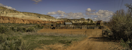Small cattle Farm in panorama view