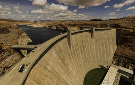 Large Glen Canyon Dam with cloudy sky