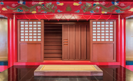 Red sliding Japanese traditional style door Stock Photo