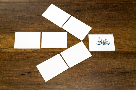 Blank small white sheet with bicycle model